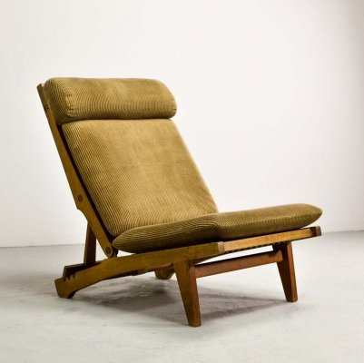 Mid Century Hans J. Wegner Oakwood AP71 Folding Lounge Chair by AP Stolen, 1968