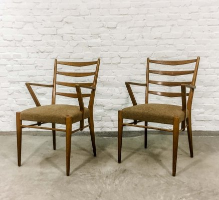 Cees Braakman for Pastoe Dutch Design Ladder Wooden Dining/Arm Chairs, 1960s