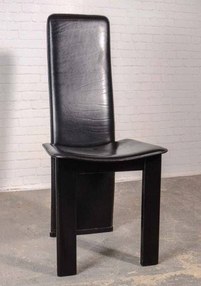 Italian Design Black Sadle Leather High Back Dining Chairs, 1970s