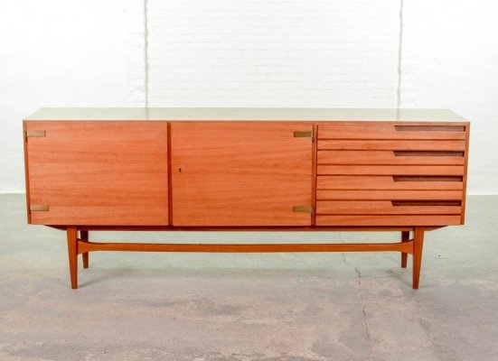 Mid Century Design Satinwood Sideboard with Two-tone Drawers & Brass Hinges, 1960s
