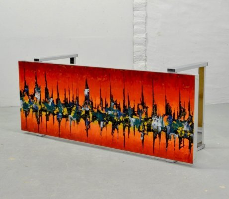 Bright Mid-Century Design Enameled Coffee Table by De Nisco, Belgium 1970s