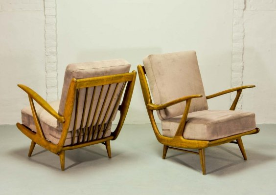 Mid Century Art-Deco Influenced Spindle Back Easy Lounge Chairs, 1950s