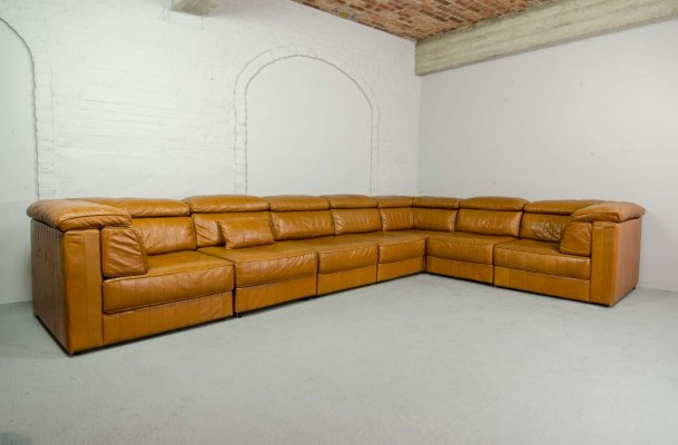 Mid Century Design Modular Patchwork Sofa by Laauser in Cognac Leather, 1970s