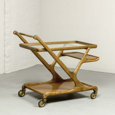 Mid Century Italian Design Walnut Bar Trolley by Cesare Lacca for Cassina, 1950s