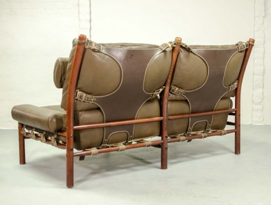 Mid Century Danish Design Two-Seat 'Inca' Safari Lounge Sofa by Arne Norell, 1960s