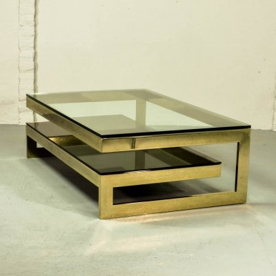 Architectural Mid-Century 23-Carat Gold Plated G-Table by Belgo-Chrom, 1970s