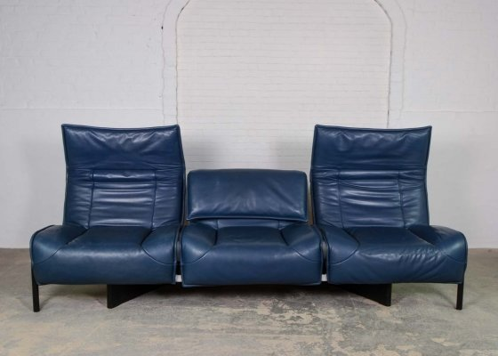 Mid-Century Italian Design Adjustable Petrol Leather 'Veranda' Sofa by Vico Magistretti for Cassina