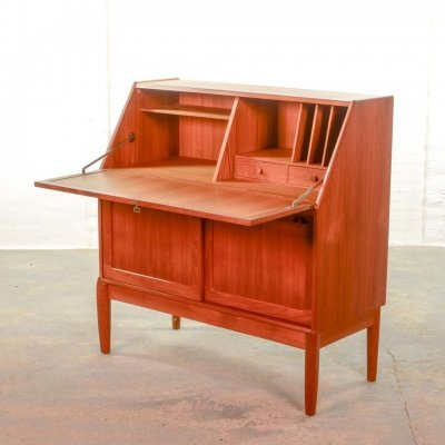 Mid-Century Danish Design Teak Writing Desk Cabinet by H.W. Klein for Bramin