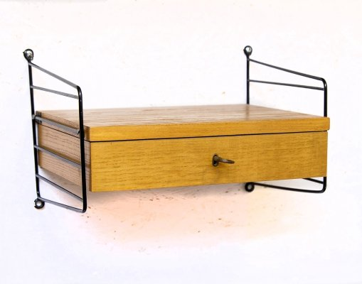 Vintage Wall Shelf with Drawer by String, 1960s