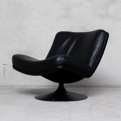 Black Leather Swivel Lounge Chair by Geoffrey Harcourt for Artifort