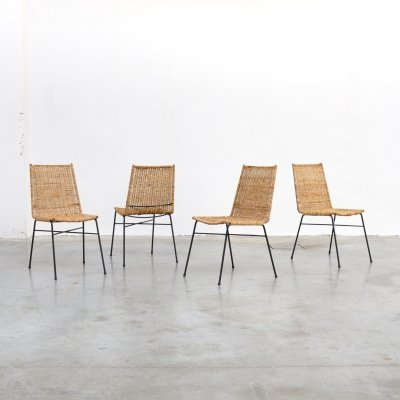 Set of 4 Italian Rattan Dining Chairs