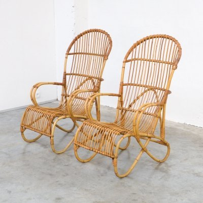 Pair of Elegant Rattan Easy Chairs by F. Paulussen for Schutting Noordwolde