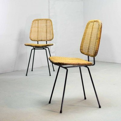 Mid Century Design Wooven Cane & Steel Side/Dining Chairs, 1950s