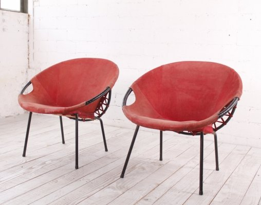 Vintage Leather Balloon Chairs by Lusch, 1960s
