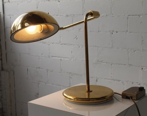 Adjustable heavy brass table lamp by Temde, 1970s