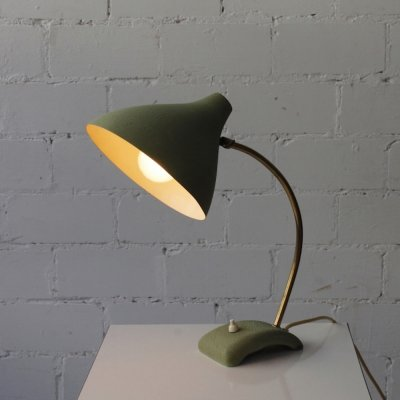 Desk lamp with goose neck & shrink paint, 1950s