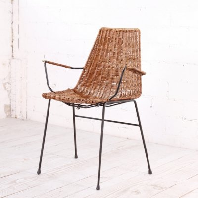 Vintage Wicker Armchair with steel legs, 1960s