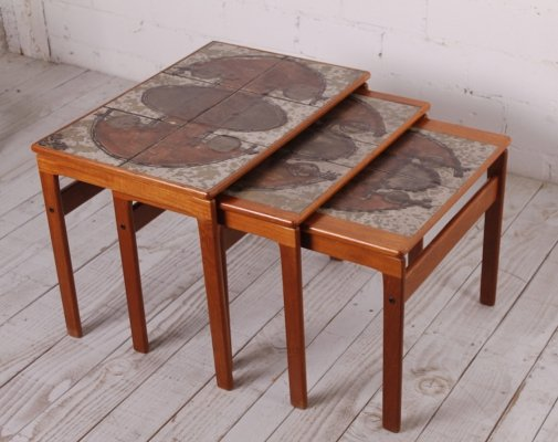 Swedish Teak Ox-Art Nesting Tables by Trioh, 1976