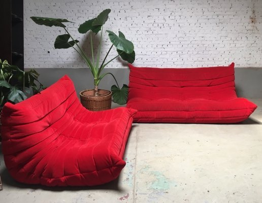 Stunning red velvet 'Togo' seating group by Michel Ducaroy for Ligne Roset, 1990s