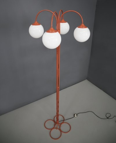 Rare orange metal Floor Lamp by Kaiser, 1970s