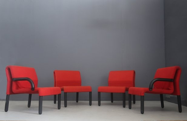 Modular Italian Sofa / Chairs in red fabric & polyurethane, 1980s