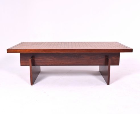 Danish Rosewood Coffee Table with Textured Copper Top, 1960s