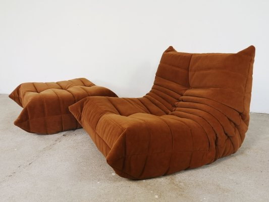 Brown velvet Togo lounge chair by Michel Ducaroy for Ligne Roset, 1970s