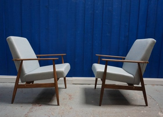 Light Blue/Grey Mid Century Armchairs by H. Lis, 1970's