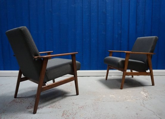 Mid Century Modern Charcoal Tweed Easy Chairs, 1960's