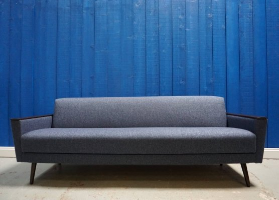 Mid Century Danish Sofa Bed in Navy Blue Tweed, 1960's