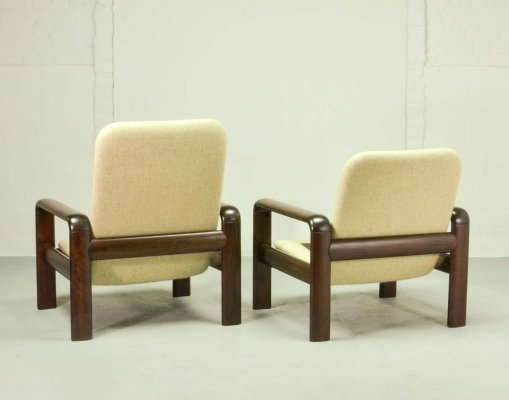 Mid Century Scandinavian Design Solid Wood Lounge Chairs by Dyrlund, 1960s