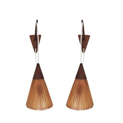 Pair of Danish Modern Teak Wall-Mount Swing-Arm Lamps, 1960s