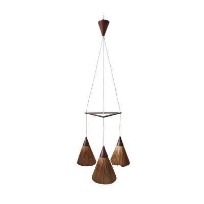 Danish Modern Teak Ceiling Light with Three Hanging Straw Cones, 1960s