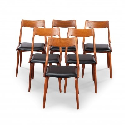 Set of 6 Midcentury Teak Boomerang Chairs #370 by E. Christensen for Slagelse, 1960s