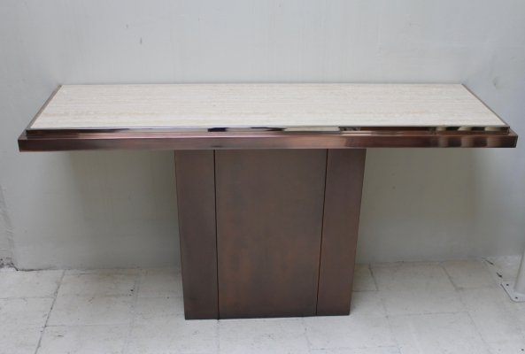 Console by Belgo Chrom in travertine, chrome & messing