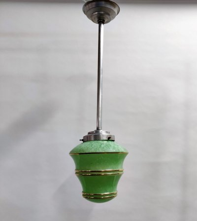 Green & Gold Art deco Pendant Light with Crackle Glass, 1930's