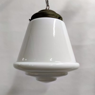 Large stepped opaline pendant light, France 1930s