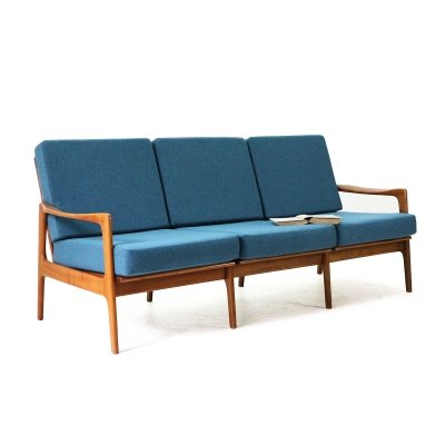 Cherrywood Three Seat Sofa with Teal Covers