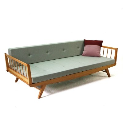 Sage Green fabric & Beechwood Daybed, 1950s
