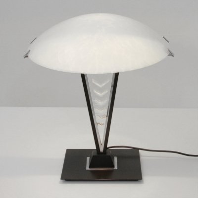 Postmodern black metal & glass table lamp, 1980s