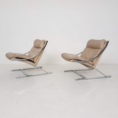 Set of 2 beige leather 'Zeta' lounge chairs by Paul Tuttle for Strassle, 1960s
