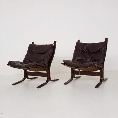 Set of 2 leather Ingmar Relling for Westnofa 'Siesta' chairs, Norway 1960's