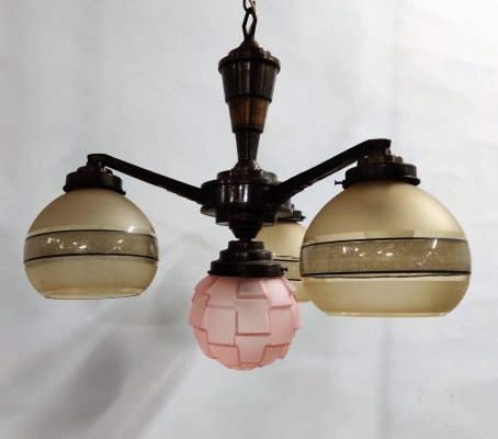 French art deco chandelier, 1930s