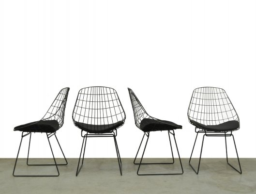 Set of 4 'SM05' vintage wire chairs by Cees Braakman for UMS Pastoe, 1950s