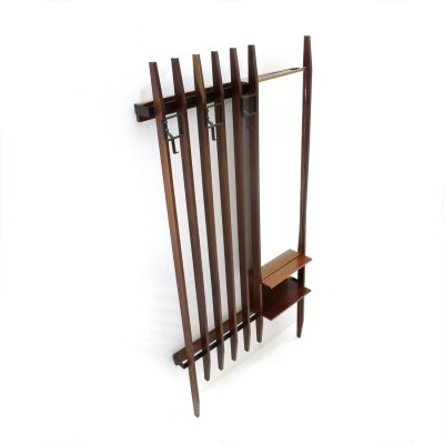 Midcentury wood & black metal Italian wall coat rack with mirror, 1960s