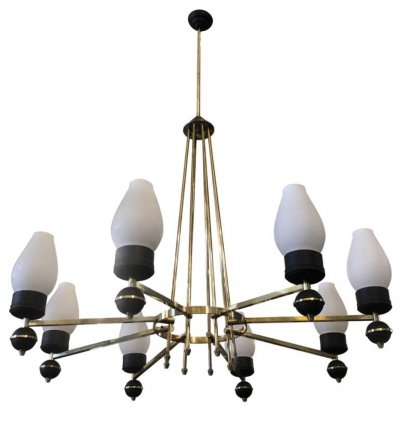 Mid-Century Modern Brass, Glass & Black Metal Chandelier