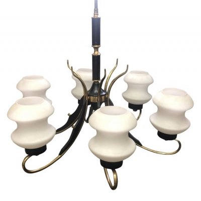 Mid-Century Modern Italian Brass, Ebonized Wood & White Glass Chandelier, 1950s