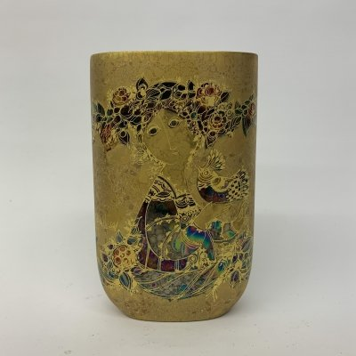 Rare golden ceramic vase by Björn Wiinblad for Rosenthal, 1970's