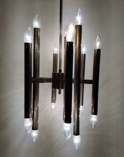 Vintage Gaetano Sciolari candle chandelier in chrome, Italy 1970s