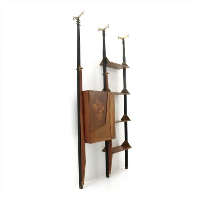 Midcentury bookcase with bar cabinet by Angelo Ferri, 1950s